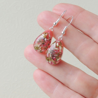 Heather Flower Resin  Drop Earrings (2054)