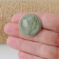 Fern Leaf Resin Cabochon Brooch (075)