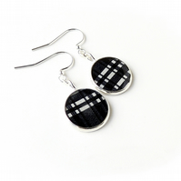 Black Check Earrings, Free UK Postage - SALE  (2159)