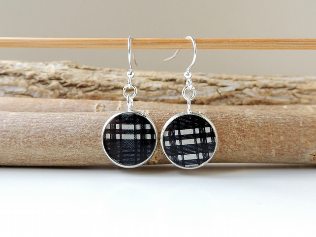 Black Check Earrings SALE  (2159)