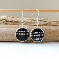 SALE: Black Check Resin Drop Earrings (2159)