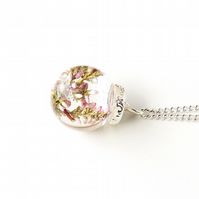 SALE: Heather Flowers in Resin Globe Necklace (2157)