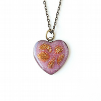SALE : Purple & Gold Heart Resin Necklace (1825)