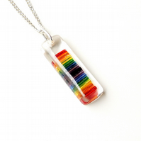 Rainbow Resin Necklace, LGBT (1488)
