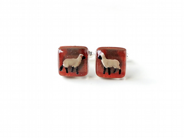 Sheep in Brown Resin Cabochon Cufflinks (2209)