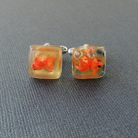 Swimming Goldfish Resin Cabochon Cufflinks (1834)