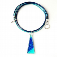 Blue Resin Pendant on Leather Necklace (070)