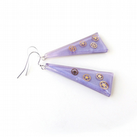 Large Purple Steampunk Earrings SALE (2225)