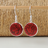 Red Spangles Resin Earrings(2180)