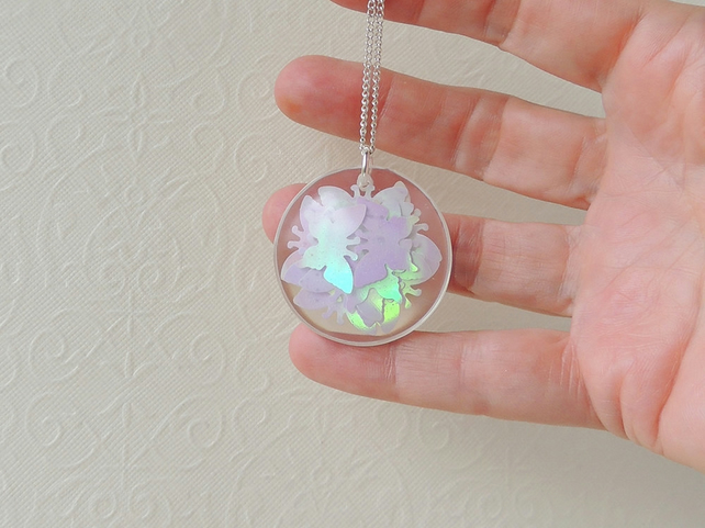 White Confetti Butterfly Necklace - SALE (2215)