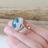 Skateboard Shavings Resin Cabochon Ring (136)