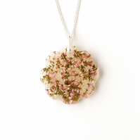 Heather Flowers Resin Necklace (555)