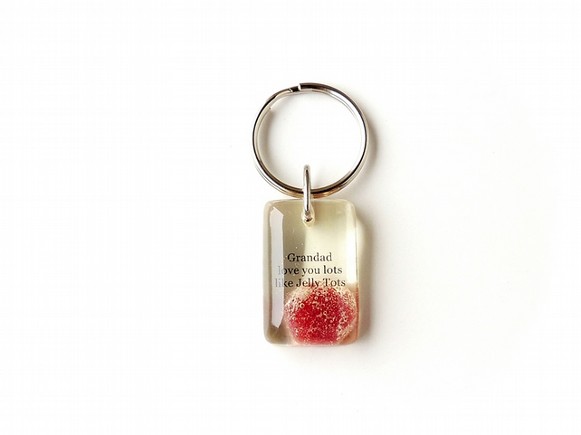 SALE: Grandad Love You Lots Like Jelly Tots Resin Keyring (1829)