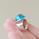 Blue Shells Resin Cabochon Ring (140)