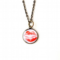 Red Lips Resin Necklace - SECONDS (1764)