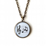 Music Necklace, Sheet Music Resin Pendant (554)