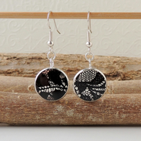 SALE: Black Lace Resin Earrings (1221)