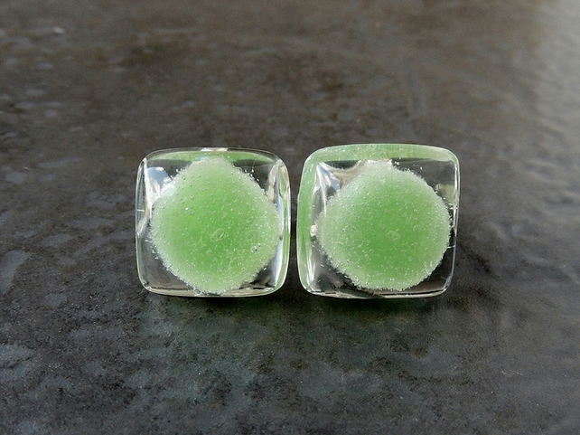 Green Jelly Tot Jelly Tots Resin Cufflinks  (406a)