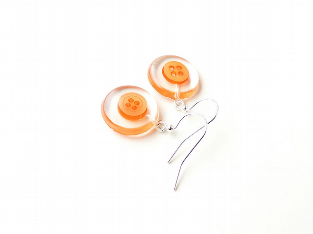 Orange Button Resin Cabochon Earrings (1939)
