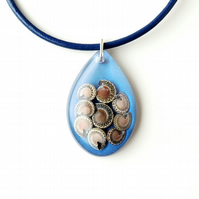 Blue Snail Resin Pendant on Leather Necklace (1959)