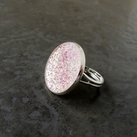 SALE: White & Pink Glitter Resin Ring (728)