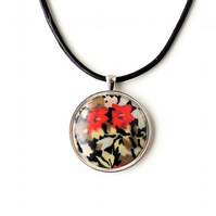 Black & Red  Flower Necklace - SALE (1940)