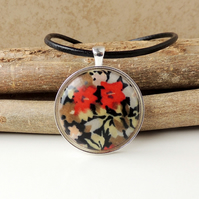 Black & Red  Flower Fabric Resin Cabochon Necklace (1940)