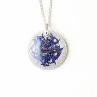 White & Blue Cornflower Petals Resin Necklace (2259)