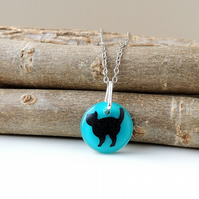 Black Cat in Turquoise Blue Resin Necklace (283)