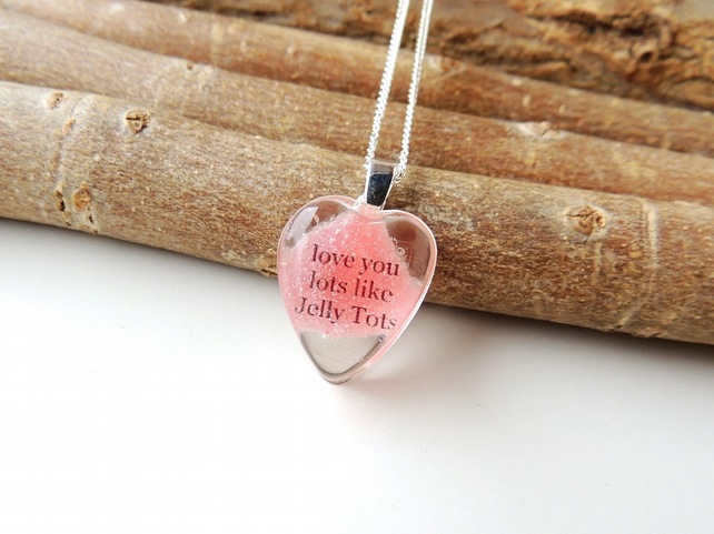 Red Love You Lots Like Jelly Tots Resin Necklace (1285)