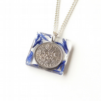1957 Lucky Sixpence and Blue Flower Resin Pendant  (1189)