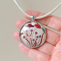 Cream and Purple Flower Fabric Resin Cabochon Necklace (1853)