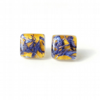 Yellow and Blue Cornflower Resin Cabochon Stud Earrings (2287)