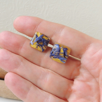 Yellow and Blue Stud Earrings - SALE (2287)