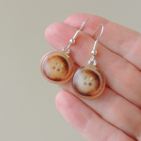 SALE: Brown Button Resin Cabochon Earrings (1498)