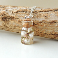 Heather & Pearls in Resin Bottle Necklace (1758)