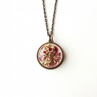 SECONDS: Heather Flowers Resin Cabochon Necklace (406)