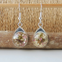 SALE: Heather Flower Resin  Drop Earrings (2281)