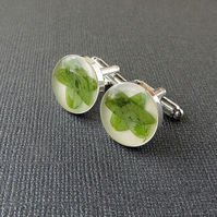 SALE: Green Leaf Resin Cufflinks (2280)