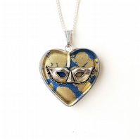 Blue & Gold Cats Eye Mask Resin Heart Necklace (1188)
