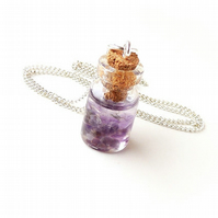 Amethyst Bottle Necklace - SALE (2121)