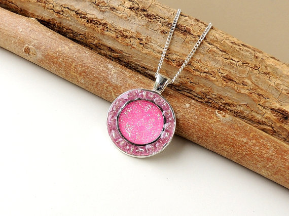 Pink Druzy Style Necklace (335)