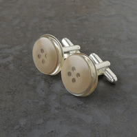 Brown Button Resin Cufflinks (971)