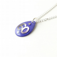 Number 60 Purple Resin Pendant  (1038)