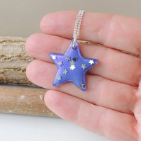 Purple Star Resin Pendant  - SALE (1742)