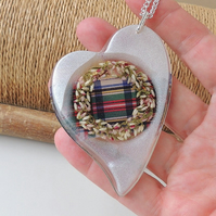 SALE: Large Heather Tartan Heart Necklace (1394)
