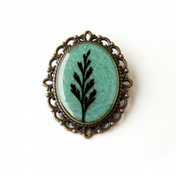 Black & Green Leaf Brooch - SALE (2042)