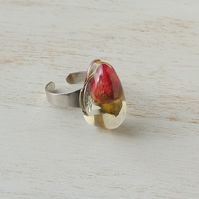 SALE: Red Rose Resin Ring (1139)