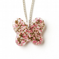 Pink Heather Butterfly Necklace (2335)