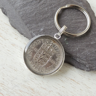 1959 UK Shilling Coin Resin Keyring (1037)